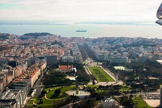 Aerial view of Liberty Avenue (Avenida da Liberdade) in the center of Lisbon