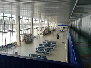 General view inside the terminal of the airport Bratsk