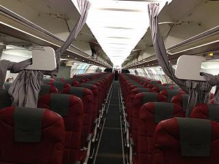 The cabin of the Airbus A321 aircraft to Nordwind airlines