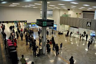 Hall And the domestic flights arrival hall in terminal T1 of the airport of Mexico city Benito Juarez