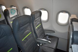 The passenger seats in the Airbus A320 S7 Airlines