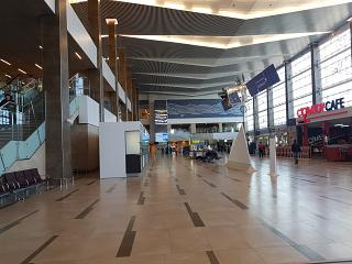 Common hall of the new passenger terminal of the Krasnoyarsk airport Emelyanovo