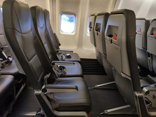 Passenger seats on the Boeing-737-800 of SkyUp Airlines