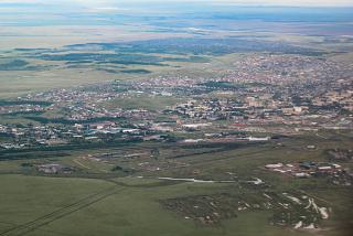 View at takeoff from airport Kokshetau