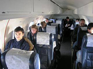 The cabin of the Embraer 120 airlines Rusline