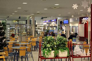 The departure area at the airport in Kajaani
