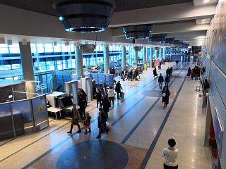General view of the terminal of the airport Omsk Tsentralny