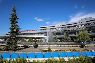Fountain at the airport Minsk national