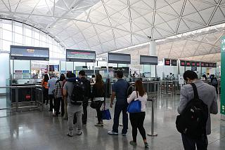 Passport control at Hong Kong airport
