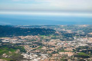 View from the plane to the city of Sintra