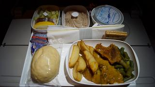 The food economy class on the flight from Moscow to Dubai Emirates airlines
