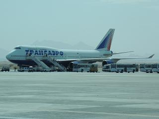Boeing-747-400 EI-XLF Transaero airlines at the airport of Hurghada