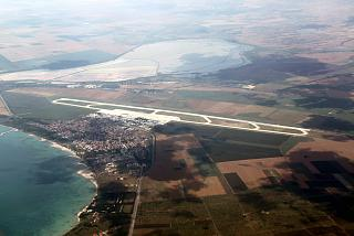 Bourgas airport and the village of Sarafovo in Bulgaria