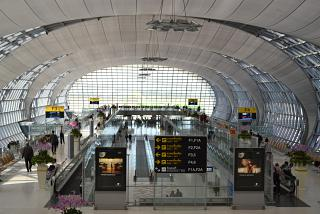 The gates in the passenger terminal of the airport is Bangkok Suvarnabhumi