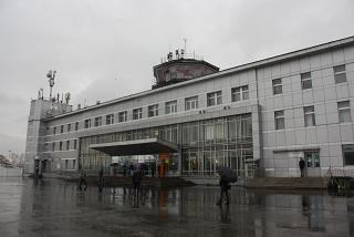 The terminal of the airport Khomutovo in Yuzhno-Sakhalinsk