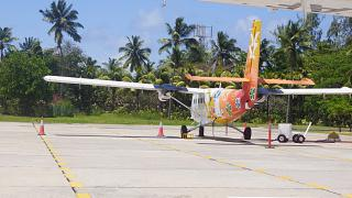 Aircraft DHC-6 Twin Otter Air Seychelles to Praslin airport