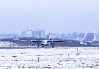 Landing An-24 KrasAvia at the airport of Omsk