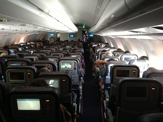The passenger cabin of the Airbus A330-300 Aeroflot