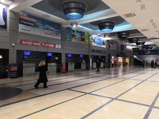 The reception area in the passenger terminal B of the airport Omsk Tsentralny