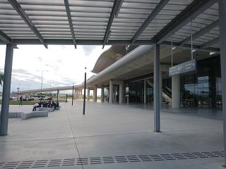 At the entrance to the arrivals area new terminal of the airport of Zagreb Franjo Tudjman