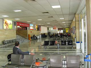 Hall waiting in the clean area of the old terminal of the airport of Burgas