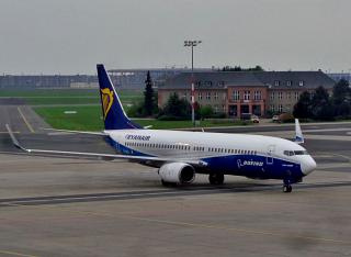 Boeing-737-800 of Ryanair in a special livery in the colors of Boeing