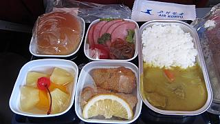 Food on the flight Beijing-Pyongyang Air Koryo