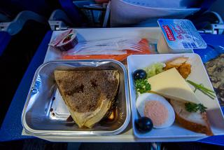 The catering meal on the Aeroflot flight from Moscow to Frankfurt