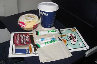 Coffee and cereal - paid meal on the airline Ryaniar