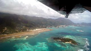The view during takeoff on the airport of Mahe in the Seychelles