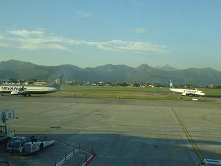 The platform of the airport of Bergamo