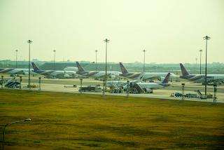 The platform of the airport of Bangkok, Suvarnabhumi