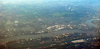 Aerial view of the London city airport