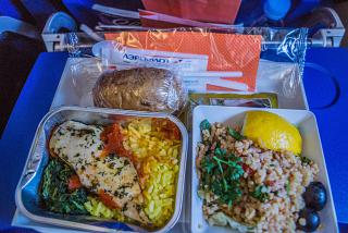 The catering meal on the Aeroflot flight Moscow-Rome