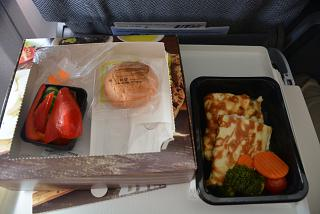 Scrambled eggs with chicken - ordered food on the flight Utair Moscow-Thessaloniki