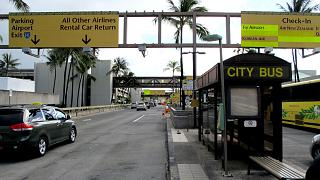 Bus stop at the Honolulu airport
