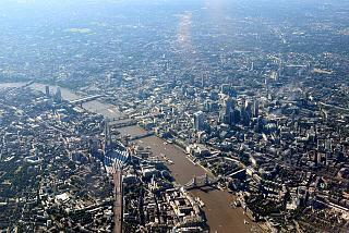 In flight over Central London before landing at Heathrow airport
