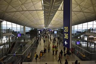 In the passenger terminal of Hong Kong airport