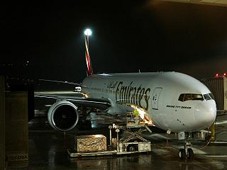 The Boeing 777-300ER Emirates airlines at Madrid airport