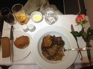 Горячее питание бизнес-класса на рейсе Аэрофлота Москва-Владивосток