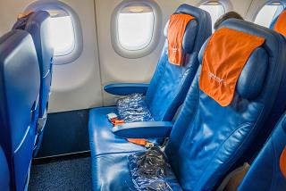 The passenger seats in the Airbus A320 of Aeroflot