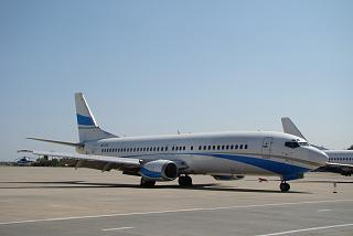Boeing 737-400 UR-CQY airlines Jonika at the airport in Kharkiv