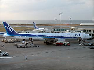Boeing-777-300 airline ANA at Naha airport in Okinawa
