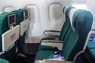 The passenger seats in the Boeing-777-200 Transaero