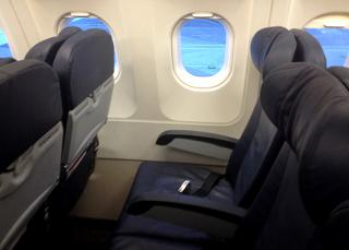 The passenger seats in the Airbus A320 Aer Lingus