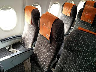The passenger seats in the Boeing-737-800 GOL