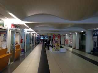 The arrival hall at the airport of Rimini