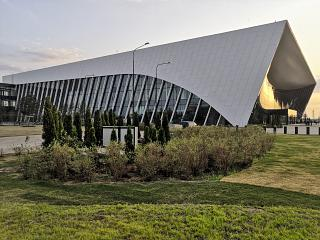 The side view of the passenger terminal of Gagarin airport in Saratov