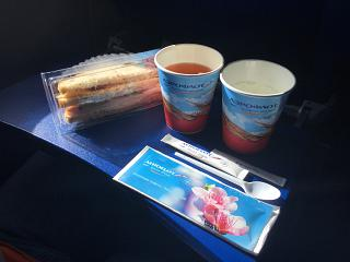 The catering meal on the Aeroflot flight Moscow-Vienna