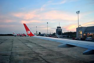 The platform of the airport of Krabi